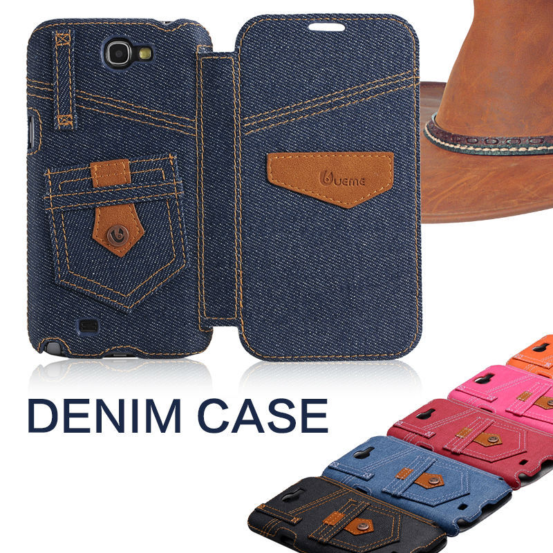 Denim cases for Samsung Galaxy Note2 case Note 2 n7100 7100 flip cover original brand unique jean design(China (Mainland))