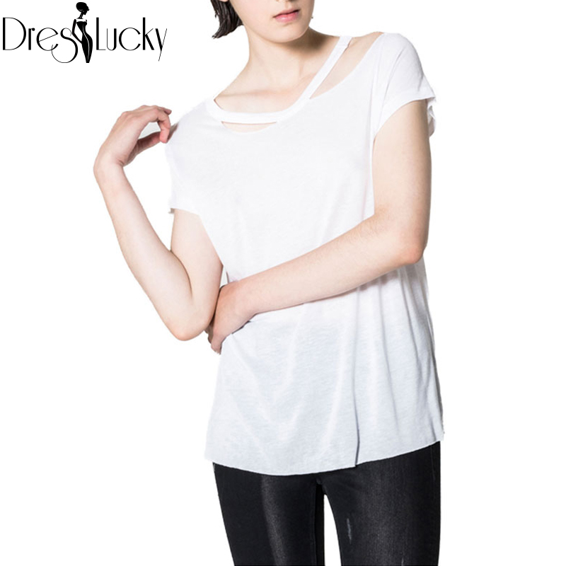 2016 Summer Fashion Solid White Top Casual Short Sleeve T-shirt Women Loose Sexy Cut Out t shirt Plus Size Ladieswear Clothing(China (Mainland))