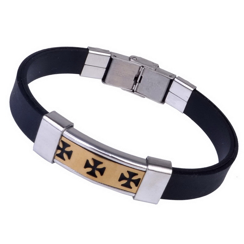 Brand Men Leather Bracelets Bangles For Men s 2015 Fashion Gold Plated Charm Bracelets Silicon Stainless
