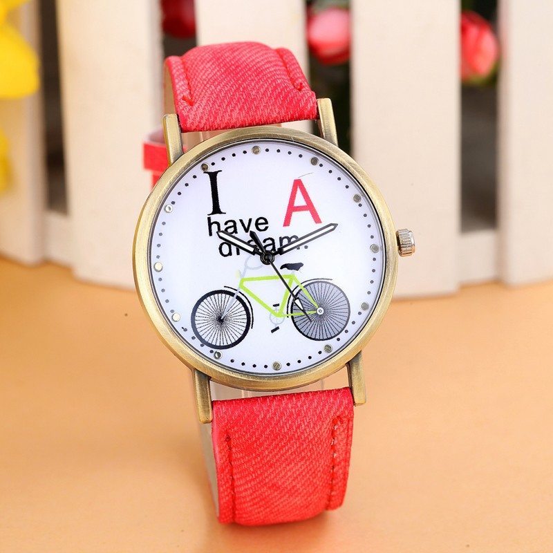 Fashion  Bicycle Dial Women Watches Denim Fabric D...
