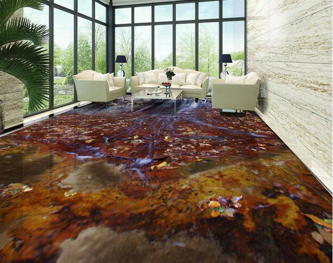 customized 3d vinyl flooring waterproof wallpaper for bathroom Stone Falls pvc tile flooring self-adhesive wallpaper(China (Mainland))