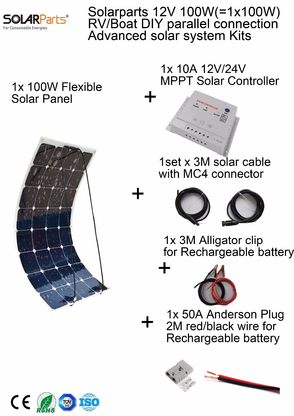 Solarparts 100W DIY RV/Marine Kits Solar System 1x100W flexible solar panel 12V, 1 x 10A MPPT solar controller set cables cheap(China (Mainland))