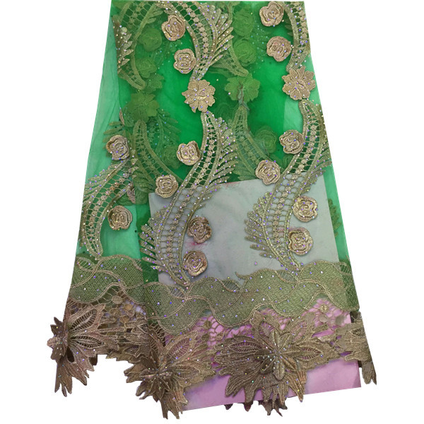 Latest nigerian guipure lace fabric 2015 green color.French lace fabric with stones 5yards.Fashion african cord lace for wedding