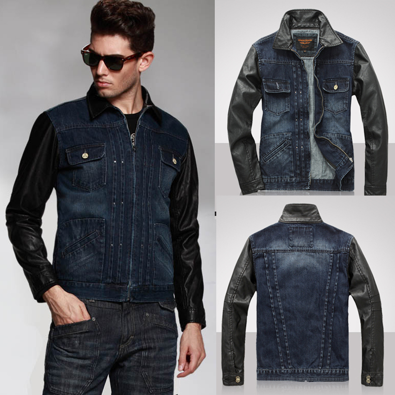 Denim Vest With Leather Sleeves