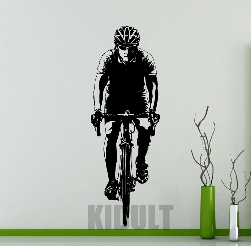 Creative Wall Sticker Bike Exercise Bike Riders Figures Pattern Wall Stickers Vinyl Sticker Home Art Deco Mural Room(China (Mainland))