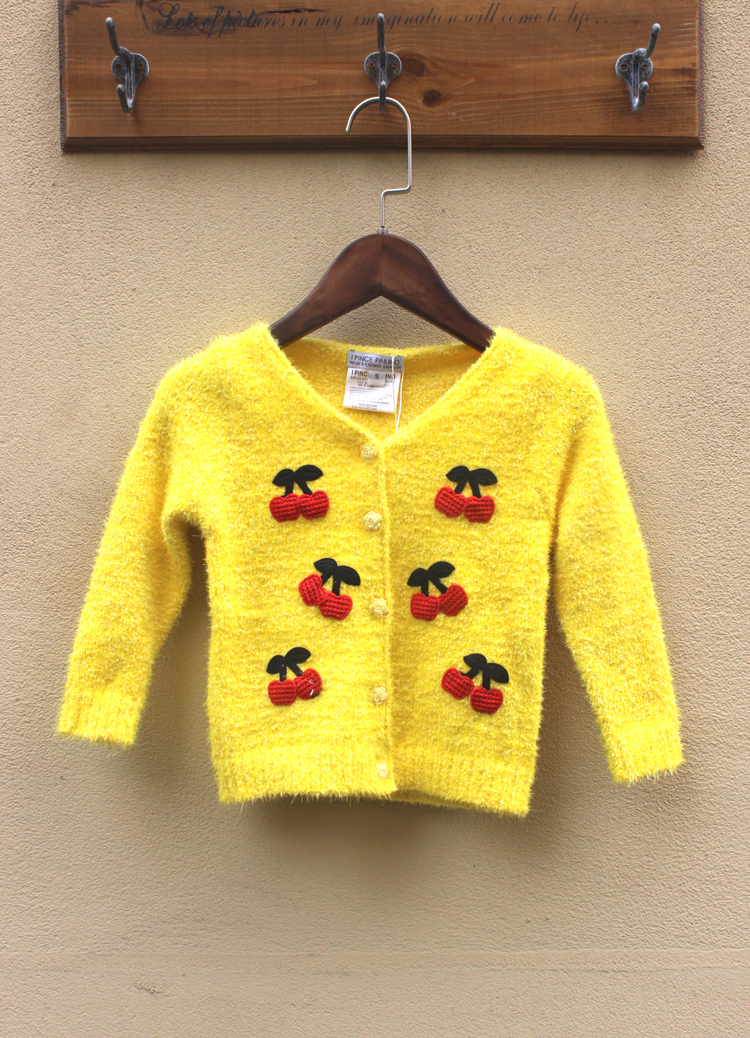 Spring Autumn New Fashion Trend Cute Lovely Cherry Sweater Coral Fleece Soft Cardigan Baby Girls Kids Coat Chlidren's Clothes(China (Mainland))