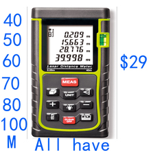 Envío gratis nivel de burbuja cinta métrica área / volumen / ángulo Tester tool 40 m medidor de distancia láser telémetros