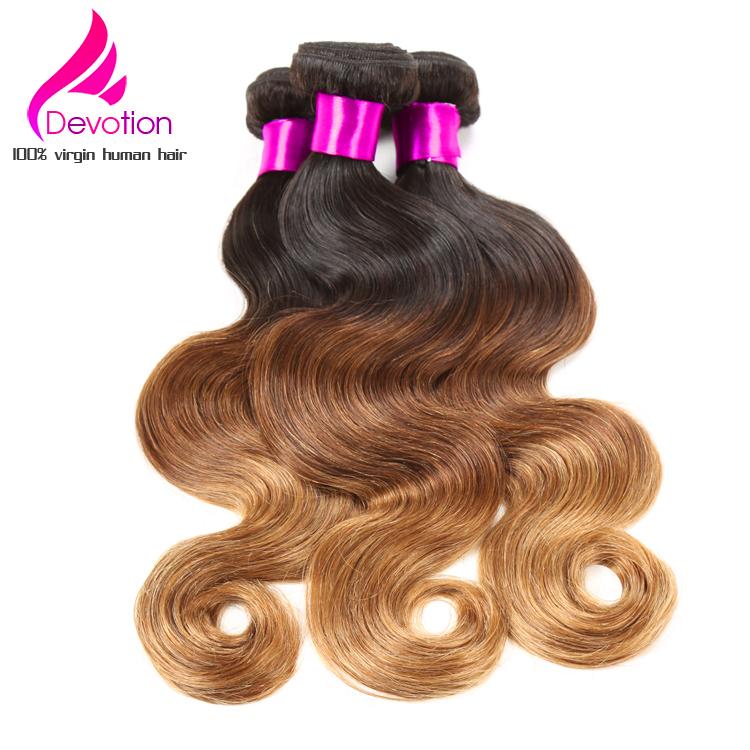 Ombre Brazilian Hair Three Tone T1B/4/27&amp;T1B/4/30 Brazilian Virgini Hair,4 Bundles Brazilian Body Wave Ombre Human Hair Weaves<br><br>Aliexpress