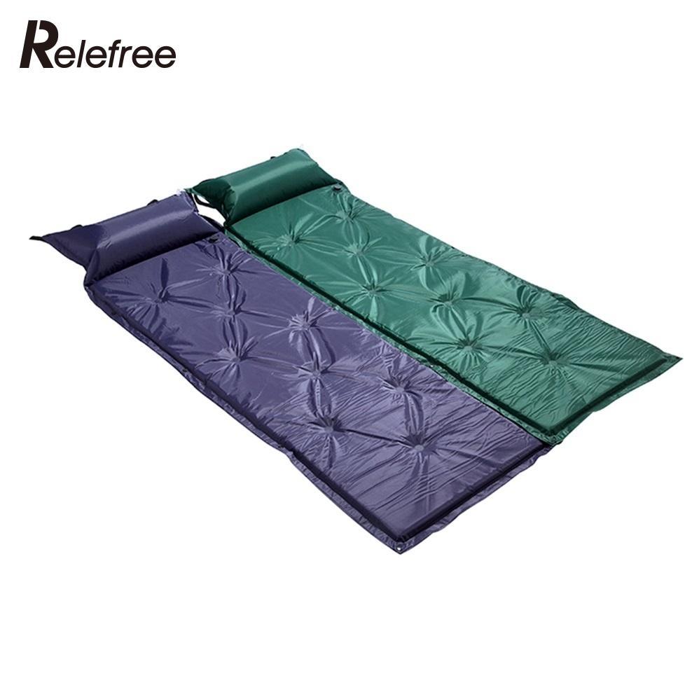 Portable Automatic Inflatable Camping Hiking Travel Mat Air Bed Matress Sleeping Bag Pad With Pillow(China (Mainland))