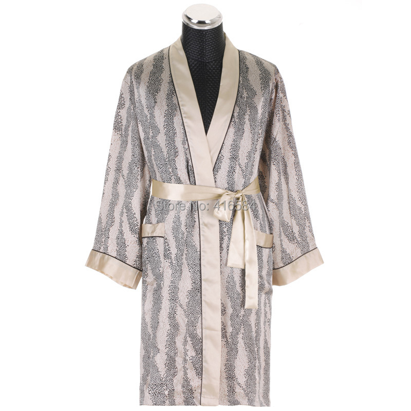 Luxury Silk Robes Men Leopard Satin Dressing Gown Long Sleeved Kimono Robe - Intimate Love Fashion Store store
