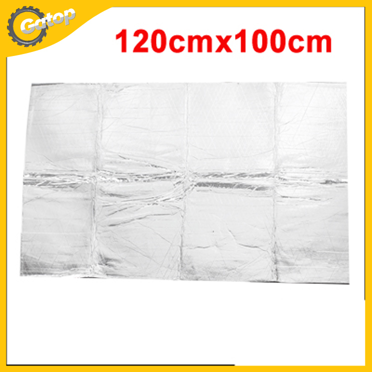 Car Sound Insulation Cotton 120*100cm Engine Heat Insulation Cotton Cover made of Tinfoil and Sponge in silver Free Shipping(China (Mainland))