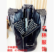 Free shipping !!! 2015 Rock guest DJ Bar nightclub singer DS stage costumes rivet punk leather motorcycle jacket men(China (Mainland))