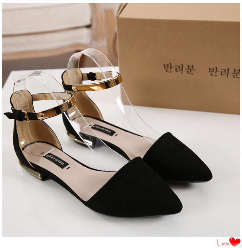 flock za r flats women's shoes fashion velvet toe cap covering za sandals female za heel flat pointed toe flat(China (Mainland))