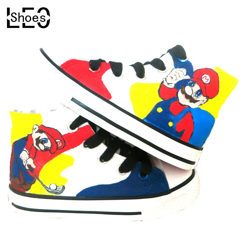 Super Mario Bros High Top Lace-Up Shoe Breathable Mens Sneakers Hand Painted Canvas Men Shoes Fashion Travel Casual Man Sneaker<br><br>Aliexpress