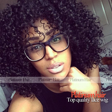 Free Shipping high quality heat resistant cheap curly Wigs With Bangs 14 Inch Short Afro Kinky Curly Synthetic Wig In Stock(China (Mainland))