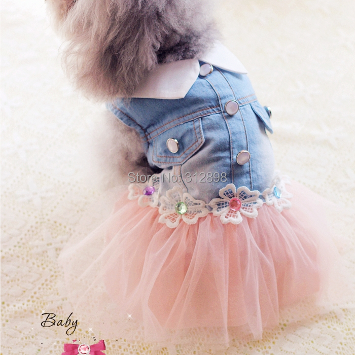 2015 Hot Dog Dress Summer Pink Yellow Princess Skirt With Denim Body Wedding Pet Clothes For Puppy Animals Chihuahua Yorkshire(China (Mainland))
