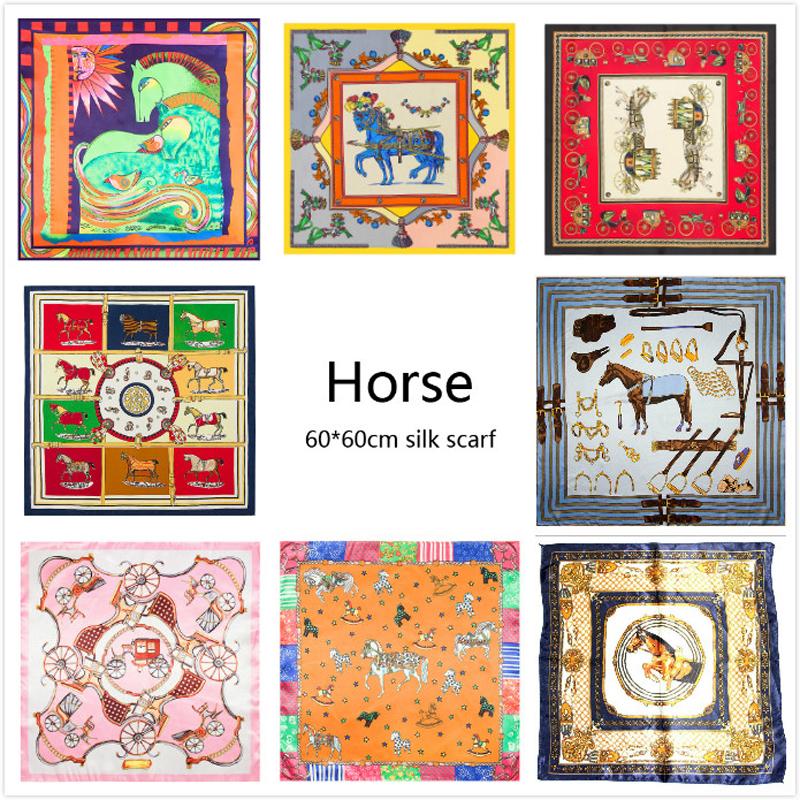 100% Silk Scarf Women Horse Scarf Foulard Neckerchief Top Silk Bandana Small Square Silk Scarf Luxury brand Lady Gift 60*60CM(China (Mainland))