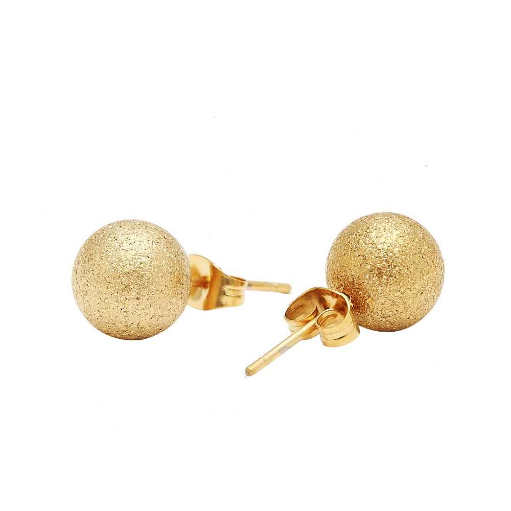 gold plated ball stud earrings with balls in stainless steel gold
