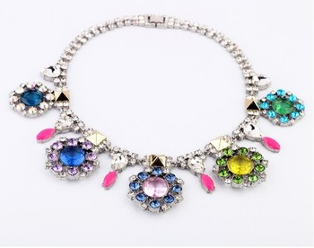high quality 2013 design fashion colorful rhinestone choker necklace silver plated