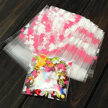 100 PCS Wholesale Clear Cellophane Cookie Sweet Wedding Birthday Candy Party Gusset Packaging Bag Full Stock Clearance