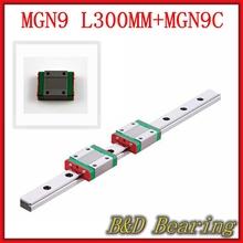 NEW Kossel 9mm miniature linear slide 2pcs MGN9 L-300mm linear rail+2pcs MGN9C linear block carriage XYZ cnc parts