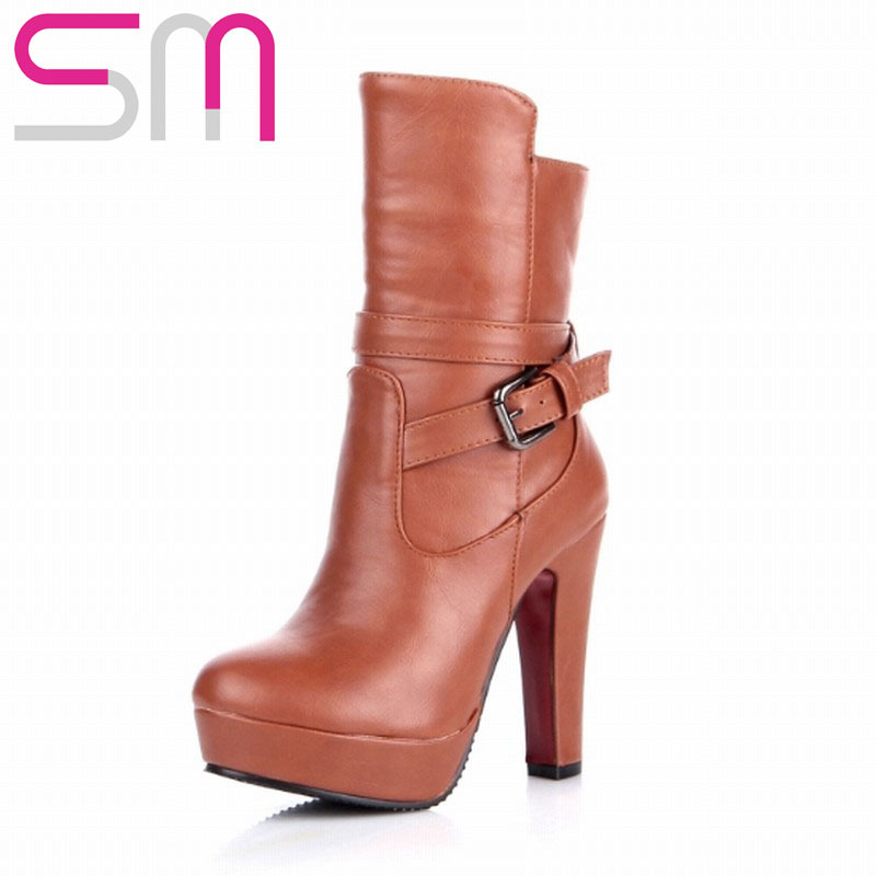 Fashion Buckle Ankle Boots 2015 Brand High Heels Women Boots Platform Shoes Fall Winter Boots Women Shoes Woman Short Boots<br><br>Aliexpress