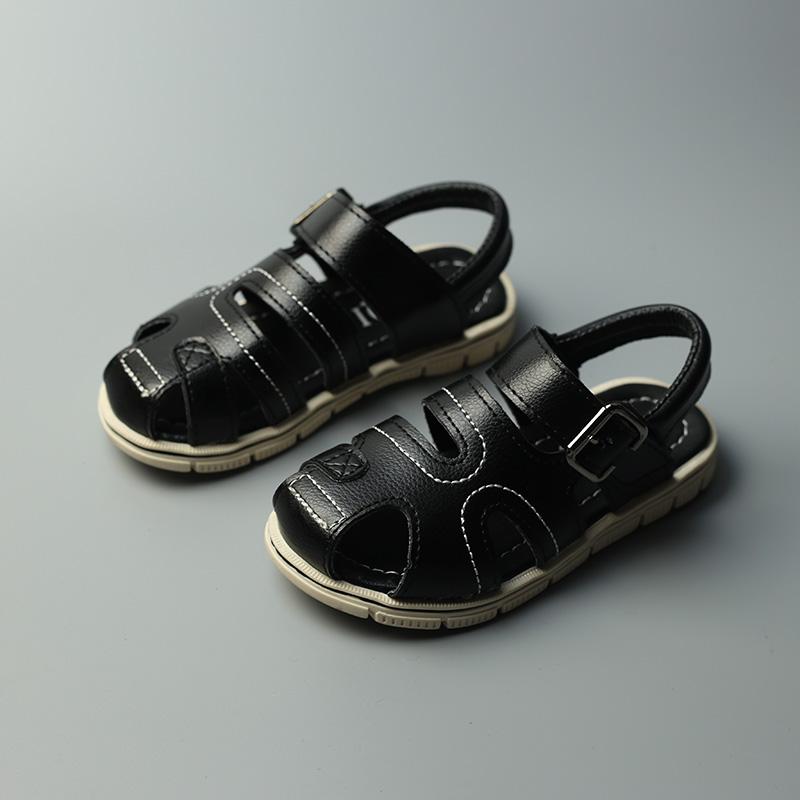 2016 children shoes boy PU leather sandals male child slip-resistant open toe sandals summer leather sandals children(China (Mainland))