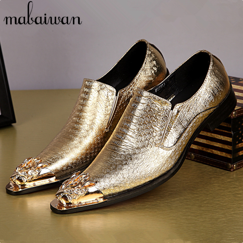 Alligator Leather Gold Plate Shoes