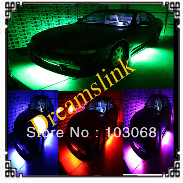 """Brand New WIRELESS REMOTE Multi-Color Under Car LED Glow Neon Light Kit (2*36""""+2*48"""") RGB Hot Promotion LOW PRICE"""