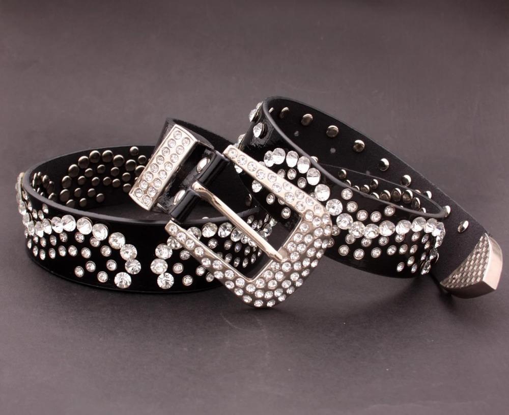 Black Western Leather Belt Bling Crystal Diamond Studded Fashion waistband(China (Mainland))