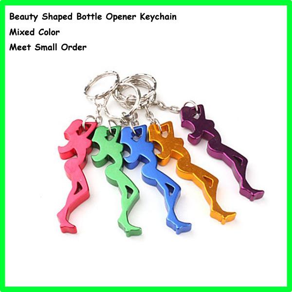 Mixed Colors Wine/Beer Bottle Opener,Keyrings Opener Aluminum,Beauty Women Keychains,1000pcs Free Shipping(China (Mainland))