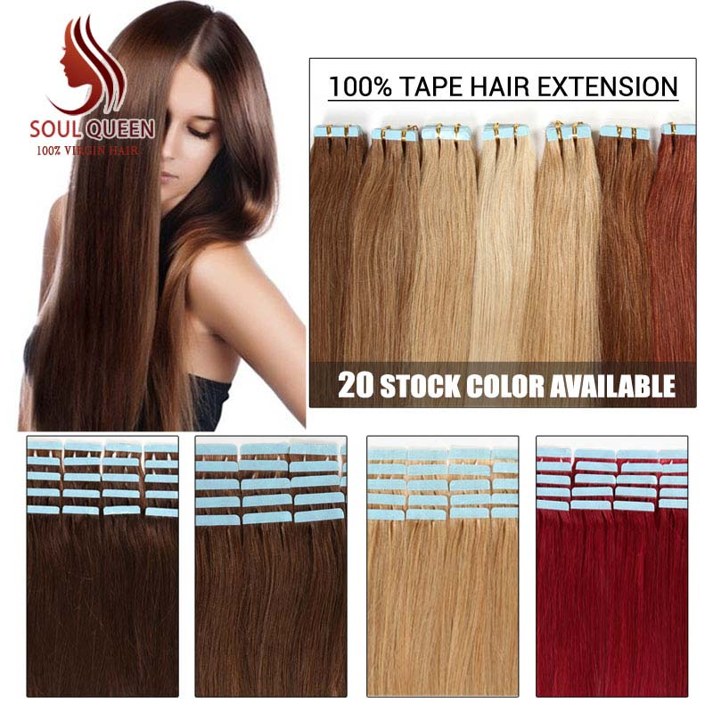 Wholesale Remy Tape Hair Extensions 20pcs/lot 16-24inch Tape in Human Hair Extension Straight Brazilian PU Hair Skin Weft Hair(China (Mainland))