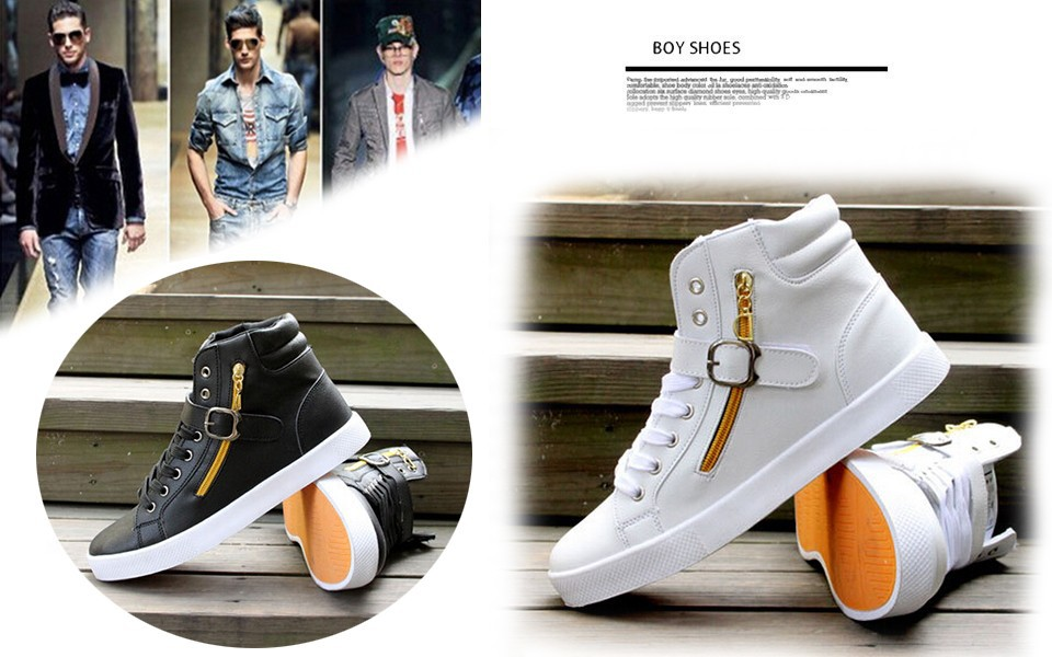 אופנה מוצק צבע גבוהה-למעלה סקייטבורד נעלי גברים של 45 פלוס גודל גבוה מוגברת היפ-הופ נעליים