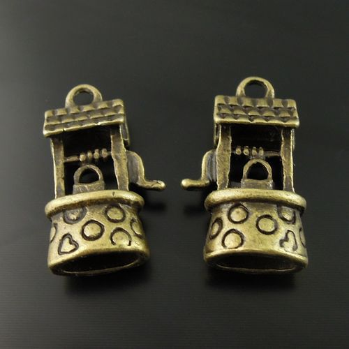 AU08226 Antiqued Bronze Tone Vintage Alloy Well Charm Pendant Jewelry Finding Hot Sale 5PCS(China (Mainland))