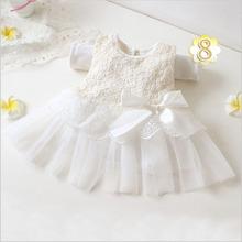 Fashion Summer Spring Toddler Girls Baby Kids Bebe Dress Princess Party Cute Newborn Wedding Big Bow Lace Dress Clothing(China (Mainland))