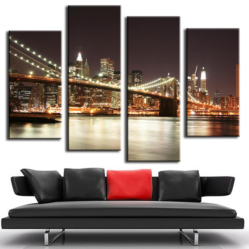 Bridge Night Canvas Prints Painting picture printed Combined Canvas Paints home decoration for living bedroom LA4007(China (Mainland))