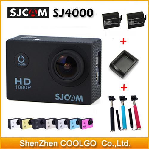 Original SJCAM SJ4000 Action Camera Diving 30M Waterproof Camera 1080P Full HD 170 Degree Sports DV 2Battery + Charger + Monopod(China (Mainland))