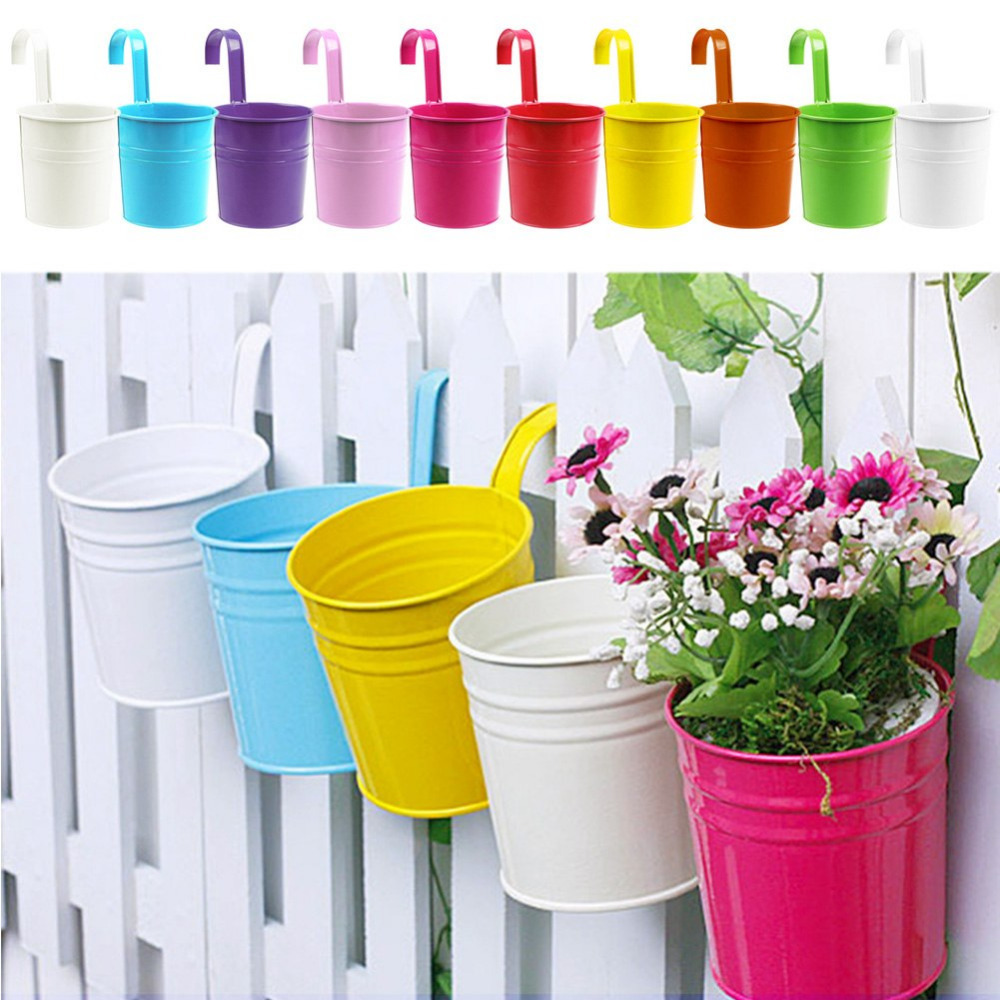 [Newest] Garden Decoration Supplies Iron Pastoral Balcony Pots Planters Wall Hanging Metal Bucket Flower Holder(China (Mainland))