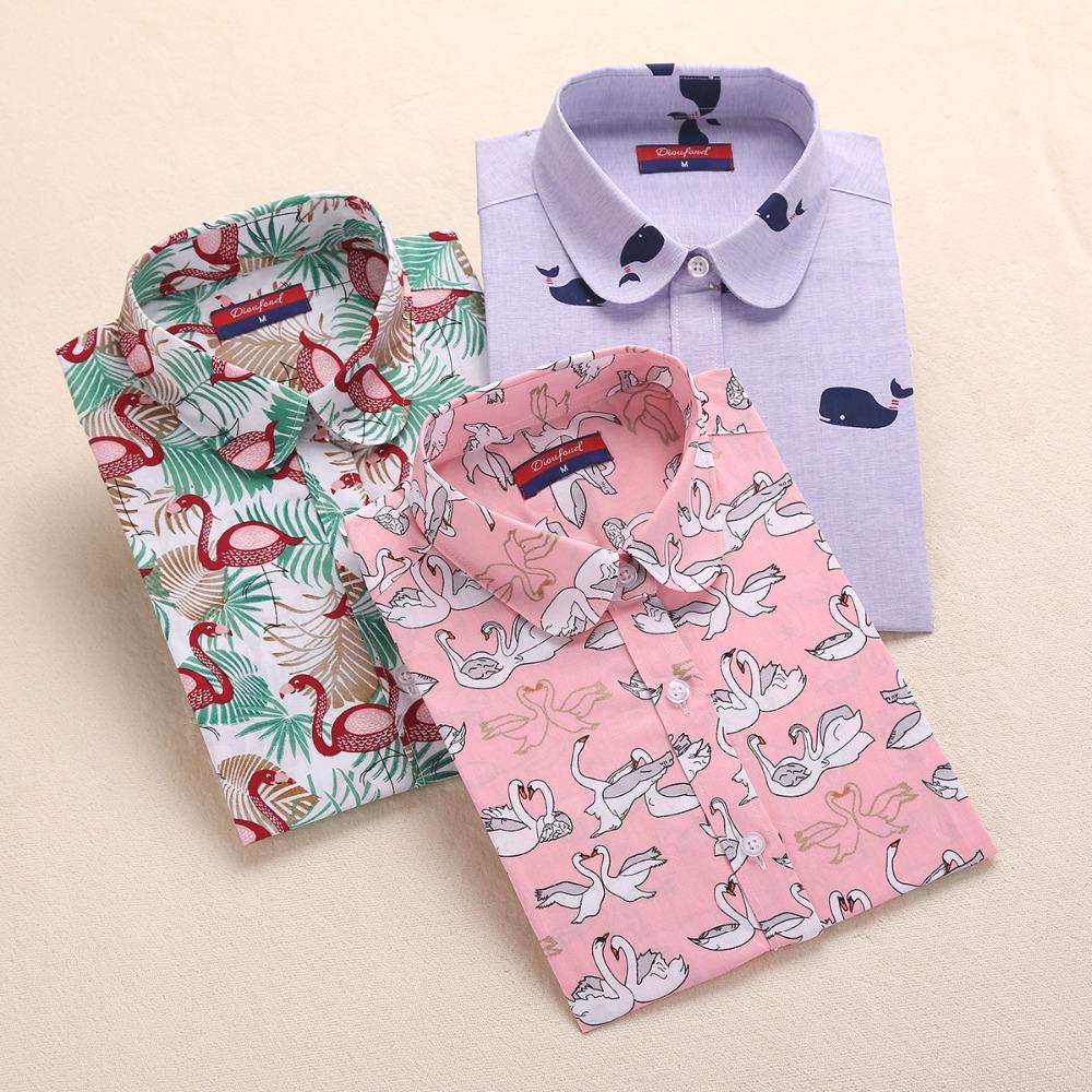 Brand New Long Sleeve Cotton Floral Shirts Lapel Vintage Women Shirts Casual Bohemia Woman Blouses Plus