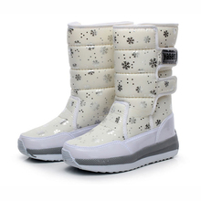 2015 women waterproof  snow boots snowflake cotton super warm shoes women's winter platform ankle boots(China (Mainland))