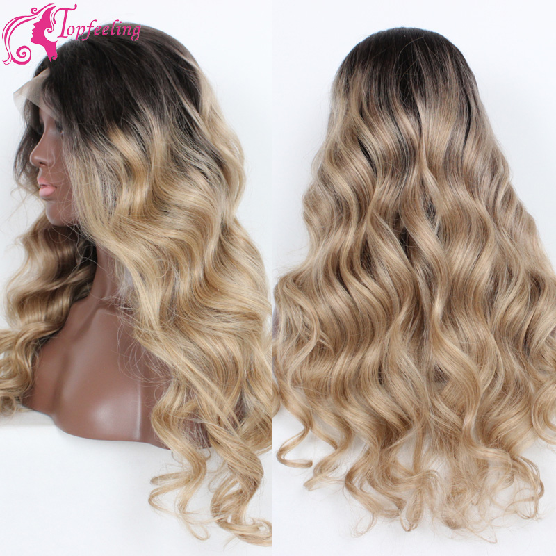 Free Shipping Two Tone#1b/613 Brazilian Full Lace Wig Human Hair/Ombre Lace Front Wigs Glueless Virgin Hair Wavy For White Women<br><br>Aliexpress