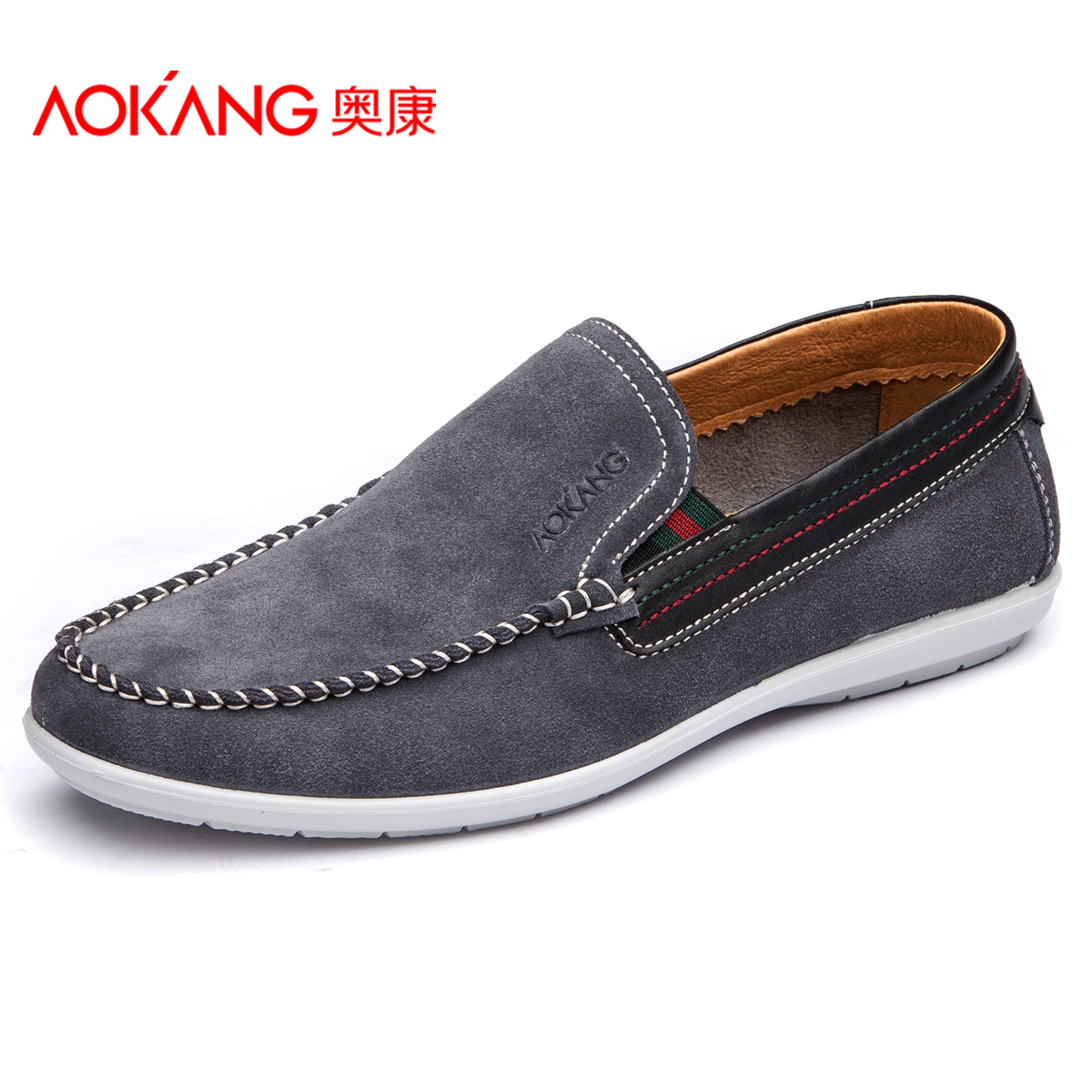 AOKANG men's 2015 new men's head set foot leather suede leather shoes men's daily leisure comfortable wear(China (Mainland))