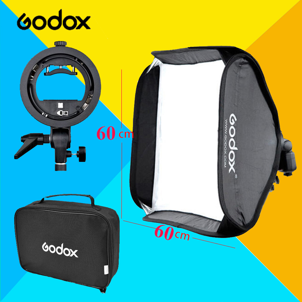 "Godox Adjustable Flash Softbox Kit 60x60cm 24"" * 24"" 60cm * 60cm + S type Bracket Mount Flash Speedlite Studio Shooting"