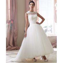 Customed Vestido De Novia 2015 White/ivory Satin Applique Ankle Length Lace Wedding Dress 2015 Vestido De Casamento Dresses(China (Mainland))