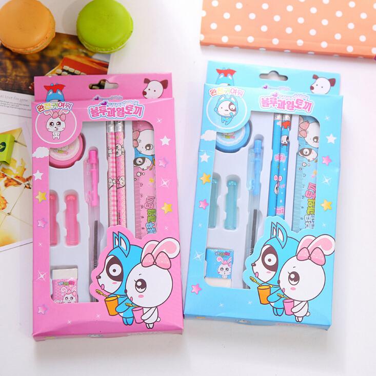 8 pcs/set Kawaii Dog And Rabbit Cartoon Stationery Set Children Gift Stationery Student Prizes H1520(China (Mainland))