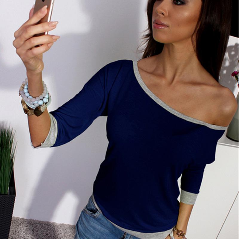 Женщины блузки slash образным вырезом рубашки 2016   летние roupas топы camisa blusas корейской моды одежда vetement femme блузка рубашка