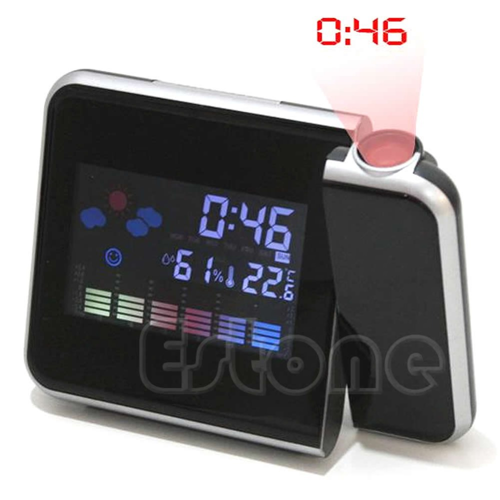 A81 2016 newest 1PC Digital LCD LED Projector Alarm Clock Projecting Weather Station Thermometer free shipping(China (Mainland))
