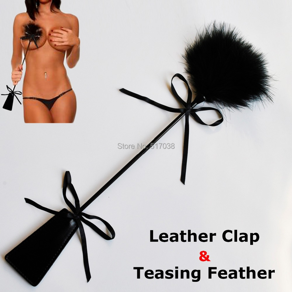 Faux leather spanking Paddle on men with male female teasing flirting tickling Feather sex toys for women adult couples game(China (Mainland))