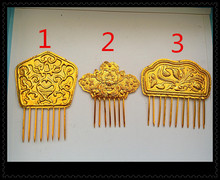Gold Plated Miao Silver Hair Stick Hanfu Accessories for Bride or Empress can DIY color add beads