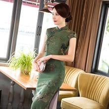New Arrival Long Slim Women Cheongsam Dress Chinese Ladies Satin Qipao Novelty Sexy Flower Dress Size S M L XL XXL XXXL F080917